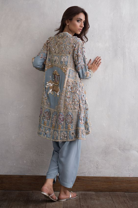 Boho Embroidery Jacket Indiandesignerwear  Pakistani