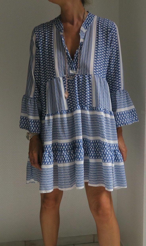 Boho Tunika Kleid Im Navajo Pali Ikat Print Blau Weiss