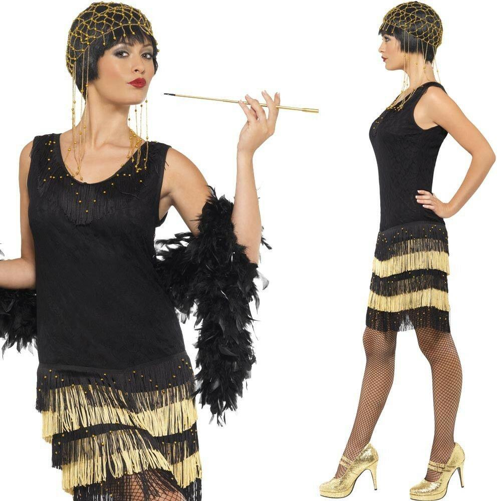 Charleston Kleid Schwarz Gold Mafia Flapper 1920 20Er