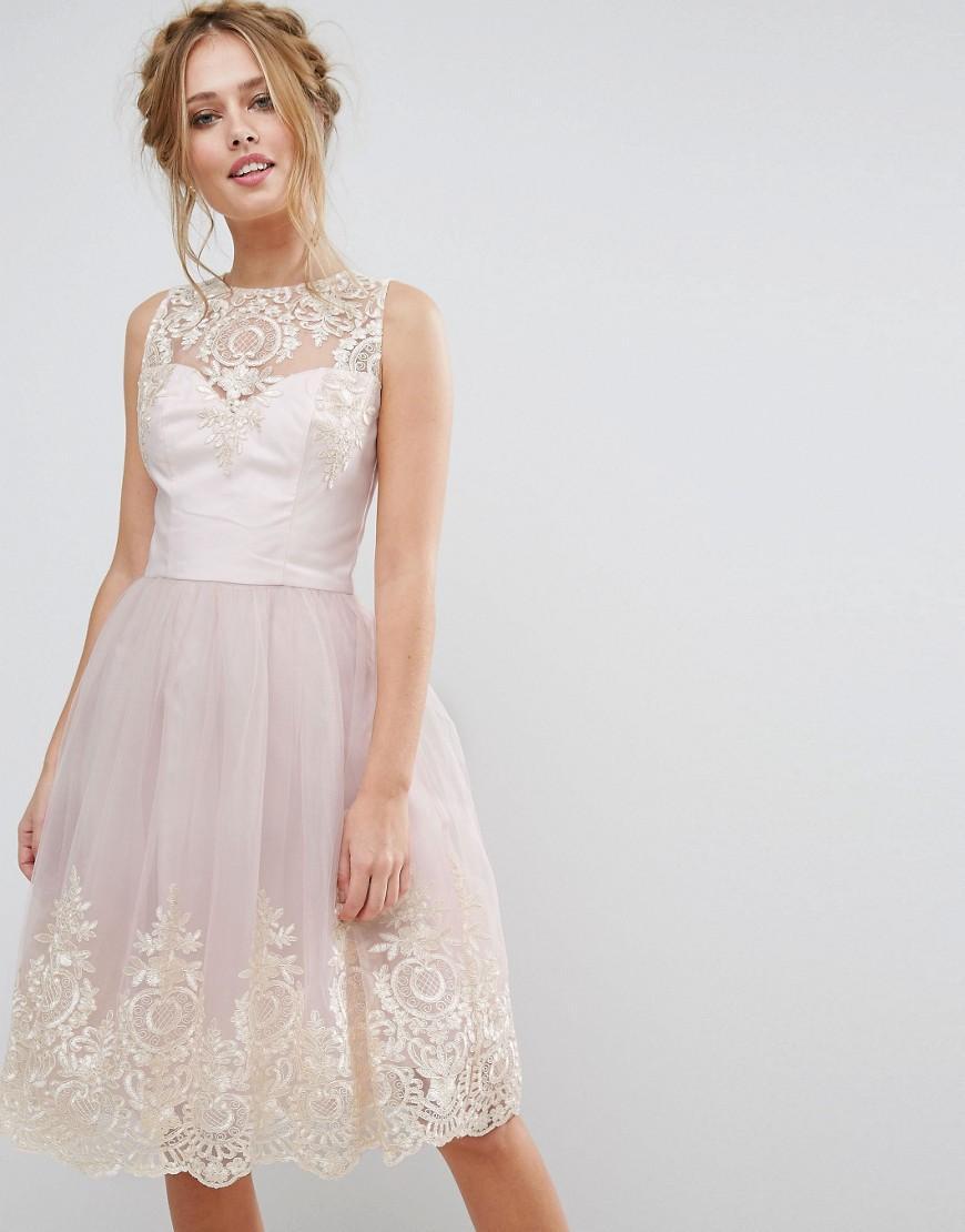 Chi Chi London Premium Lace Midi Dress With Scallop Back