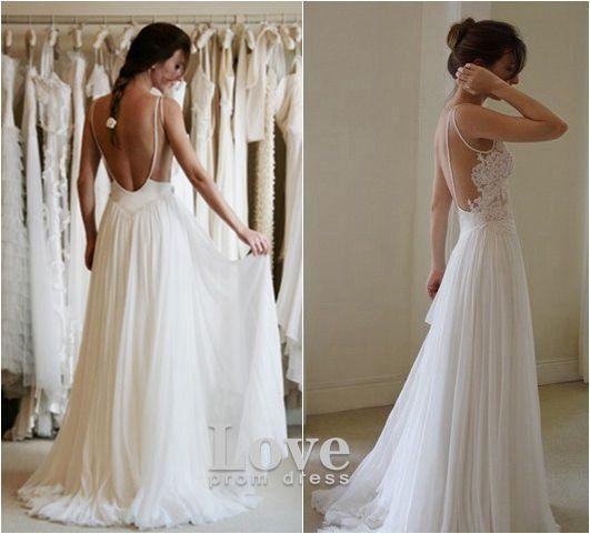 Custom Made A Line Chiffon Backless Lace Wedding Dresses