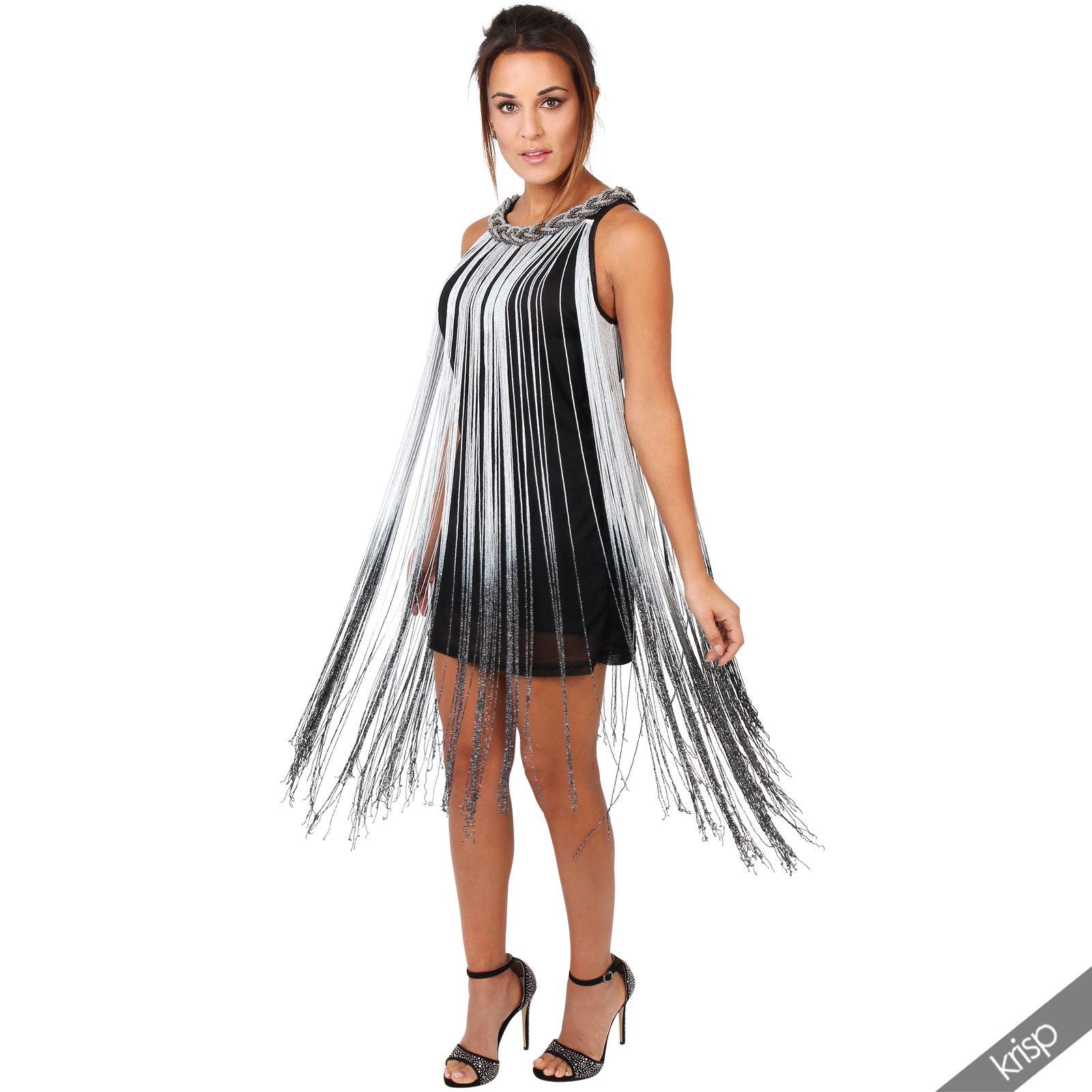 Damen Swing Kleid 20Er Jahre Fransenkleid Party