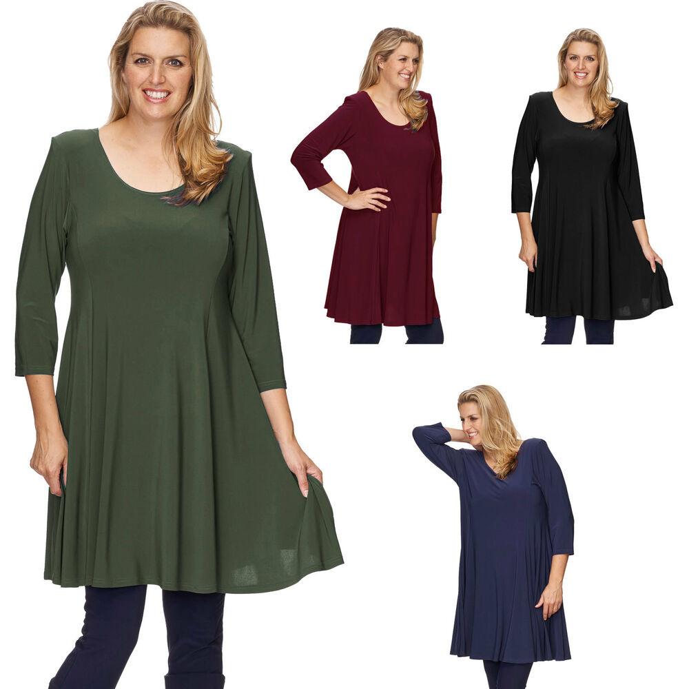 Damen Tunika Kleid Alinie Lagenlook Longshirt 40 42 44 46