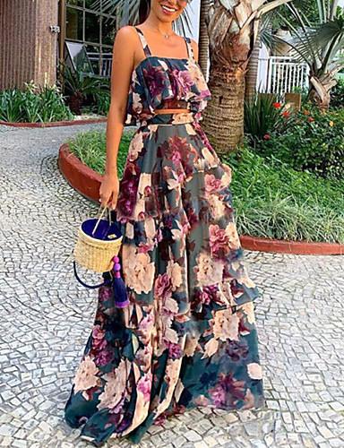 Damen Zweiteiliges Kleid Maxikleid  Ärmellos Blumen Druck
