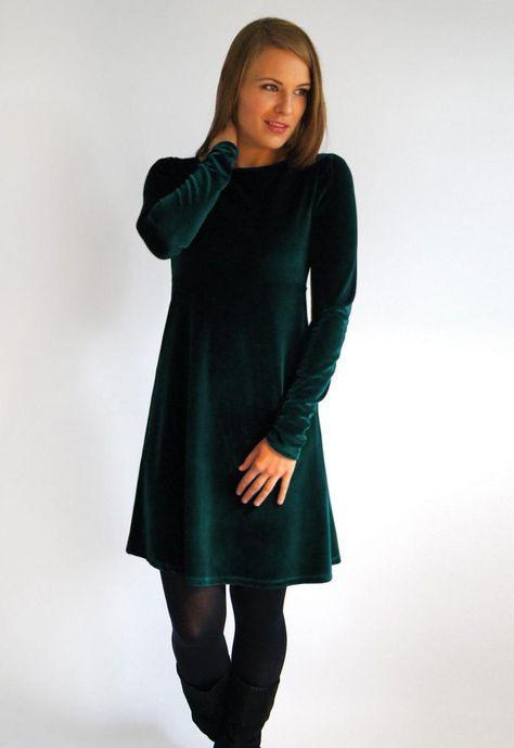 Feen Und Helden Festkleid Samtkleid Ava Langarm Grün