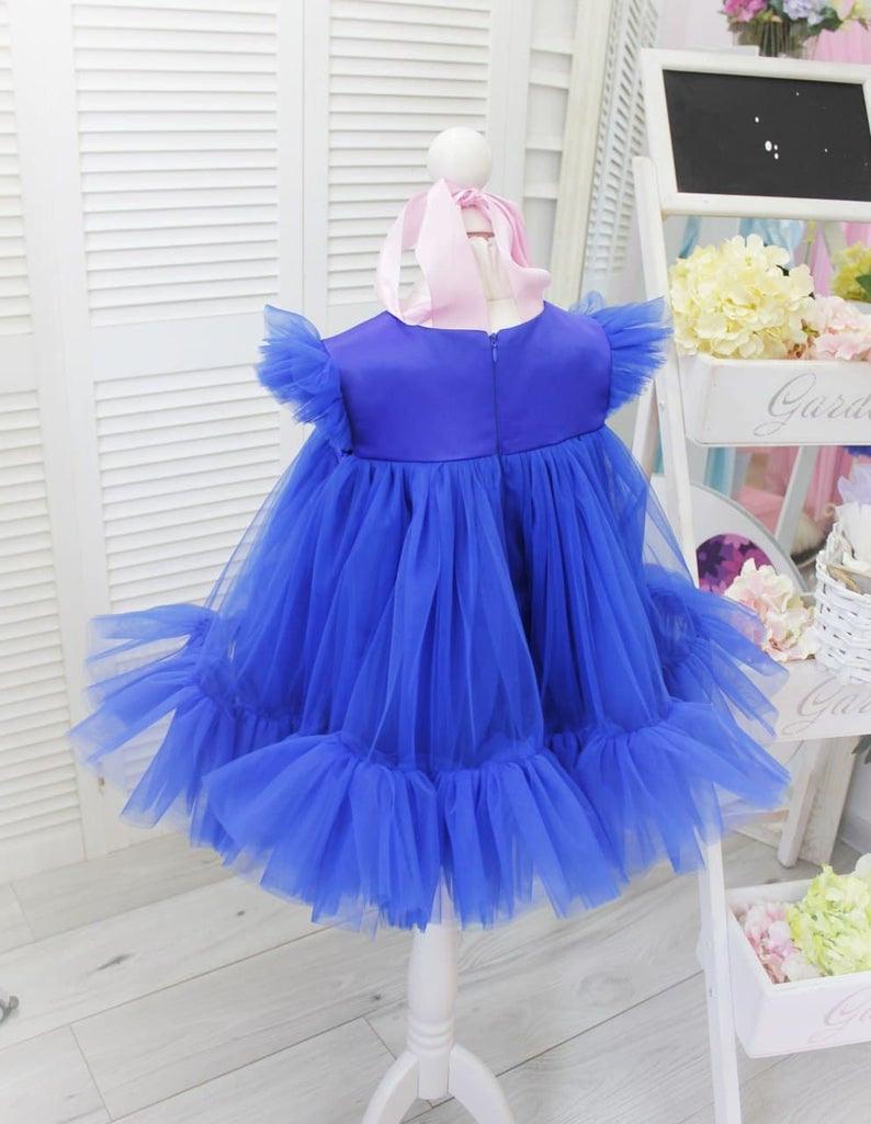Geburtstagbabymädchenkleid Kurze Geschwollene Babykleid
