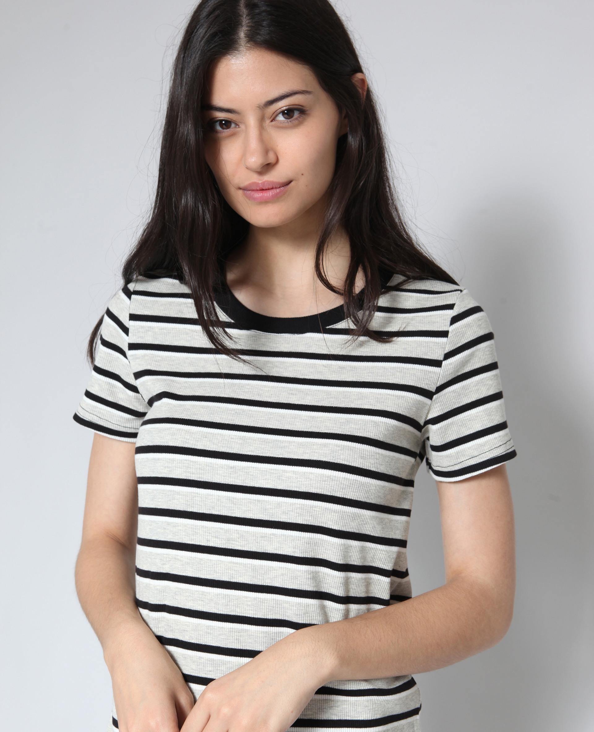 Gestreiftes Tshirt Kleid Schwarz  780920899C08  Pimkie