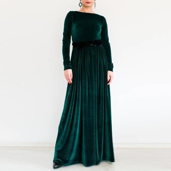 Grünem Samt Maxikleid Plus Size Bescheidenes Kleid