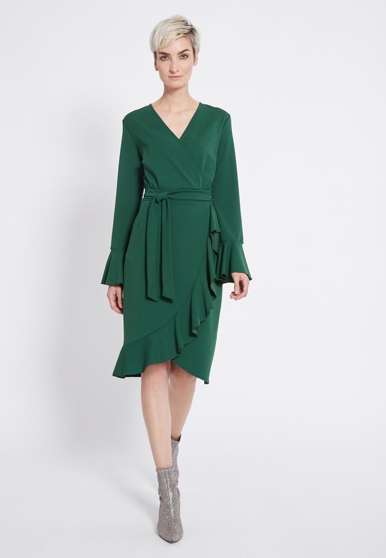 Grünes Wickelkleid Romela Aus Jersey Mit Volants  Ana Alcazar