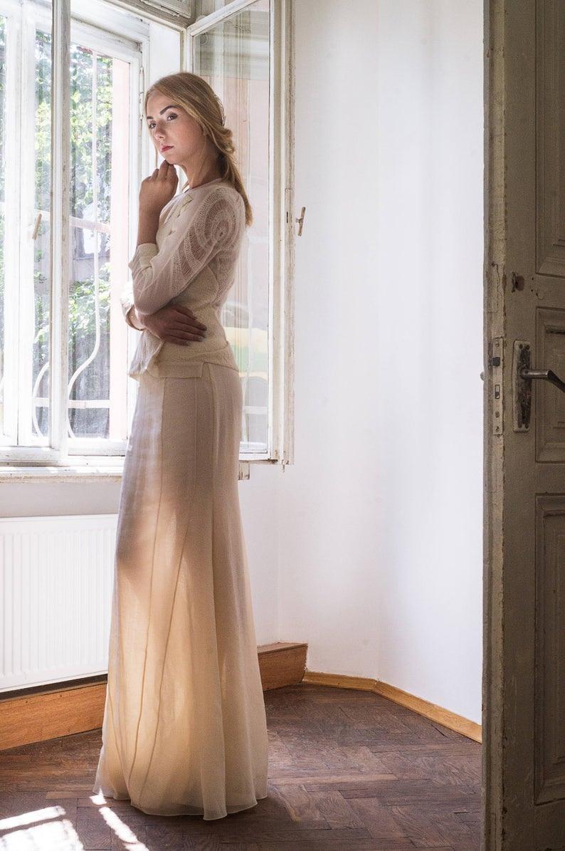 Hochzeit Kleid Haute Couture Hand Wolle Kleid Weiß Kleid