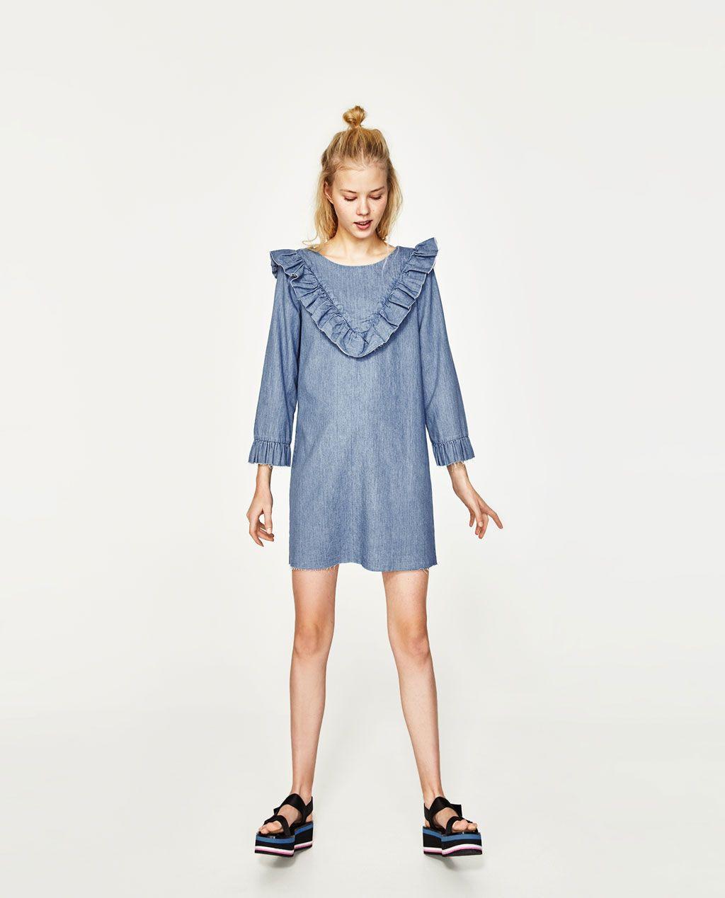 Image 1 Of Frilled Denim Dress From Zara  Dresses Shift