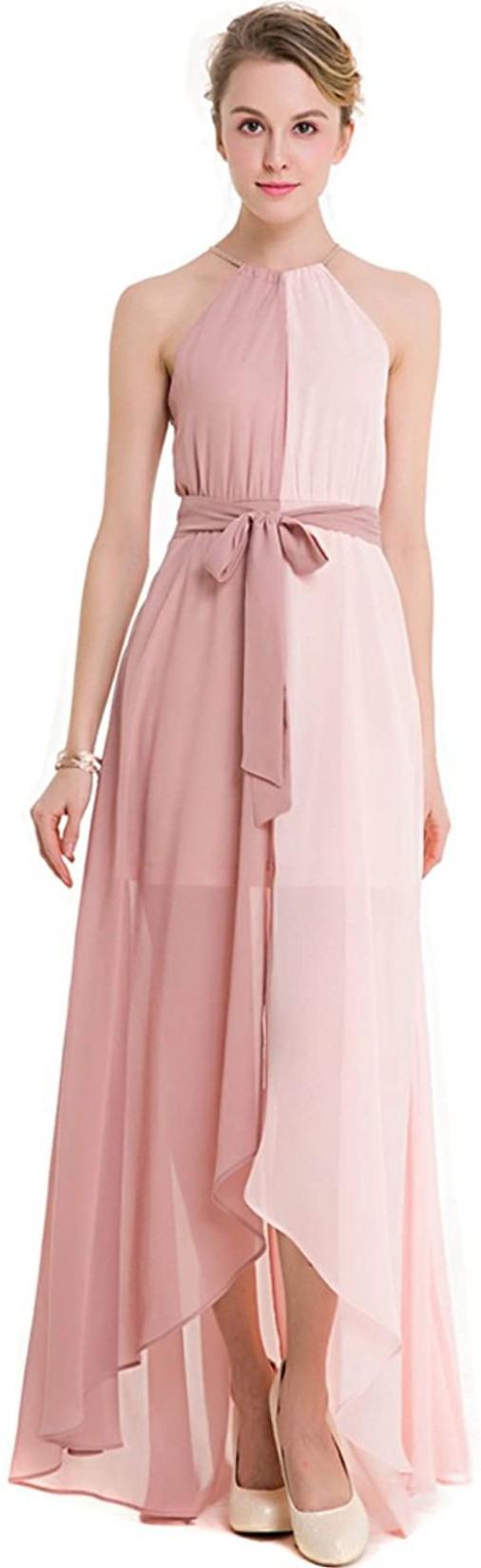 Kaxidy Damen Rosa Abendkleider Kleider Hochzeit Elegant