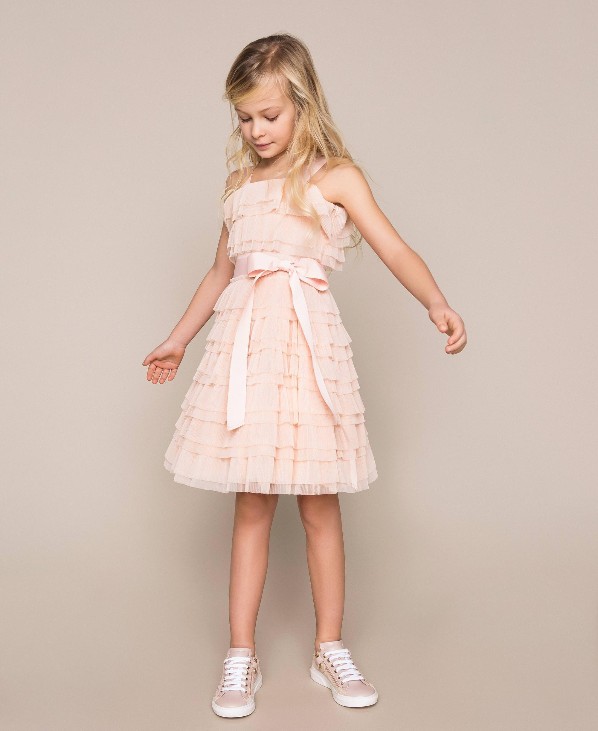 Kleid Aus Tüll Mit Plissierten Volants Kind Rose