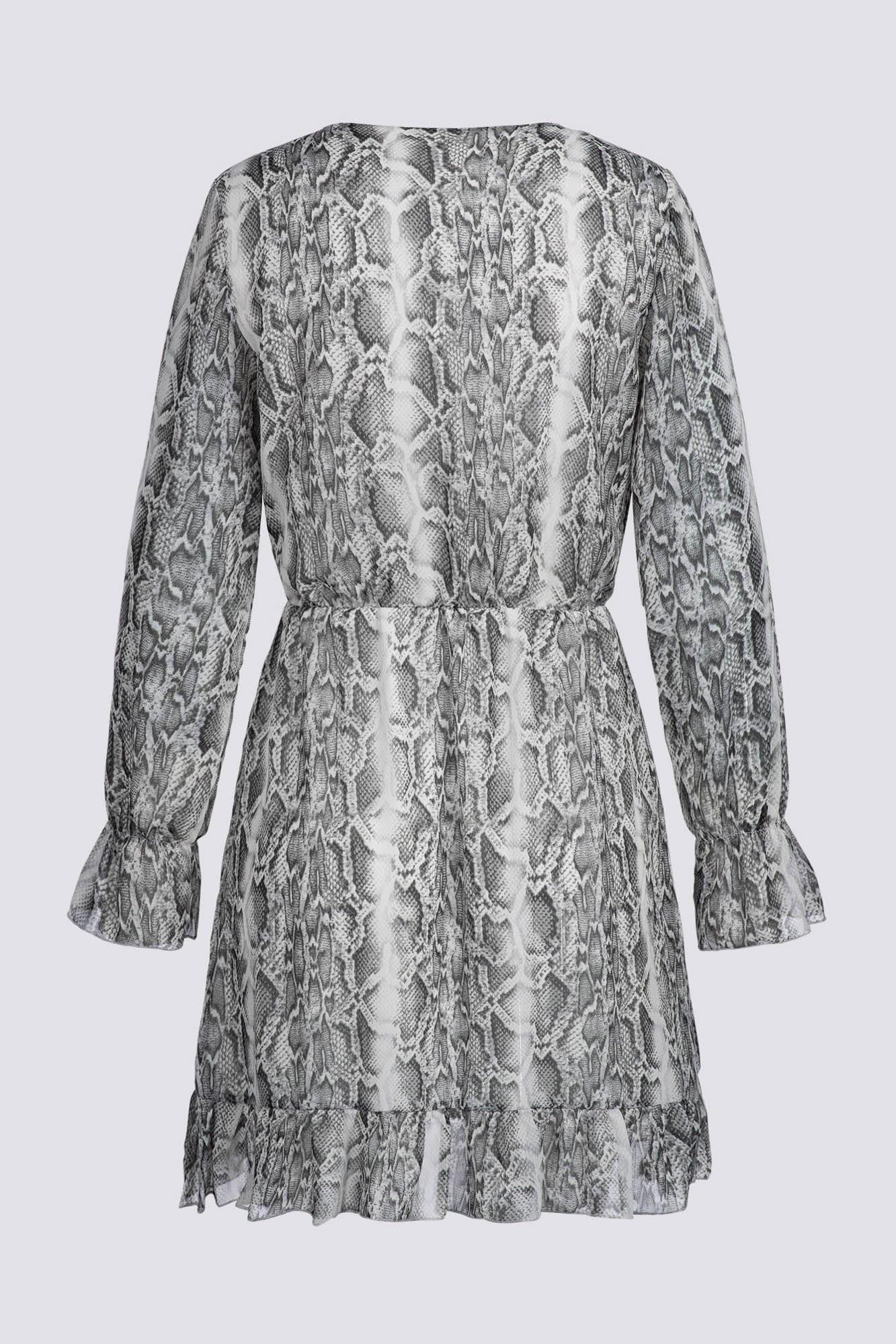 Kleid In Wickeloptik Mit Schlangenmuster  Freshlions