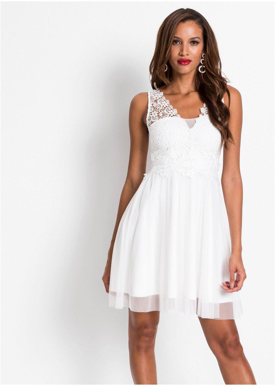 Kleid Mit Spitze Weiß  Bodyflirt Boutique  Bonprixde
