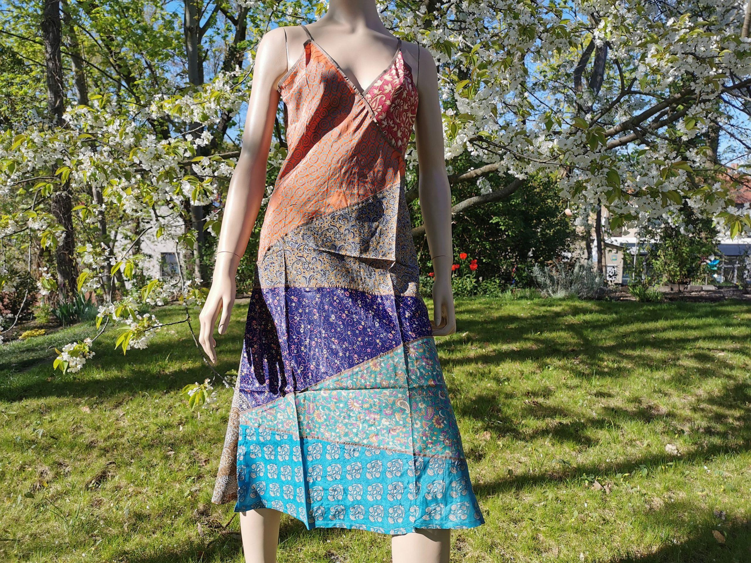 Kleid Tunika Patchwork M/L Saristoffe Bunt Recycelt