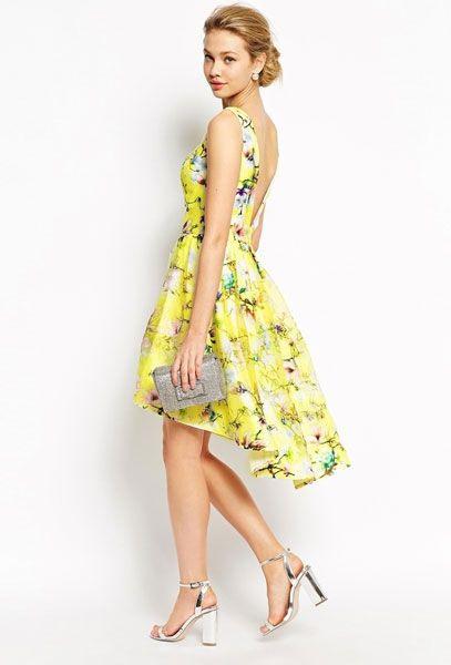 Kleider Für Hochzeitsgäste Gelbes Blumenkleid  Kleider