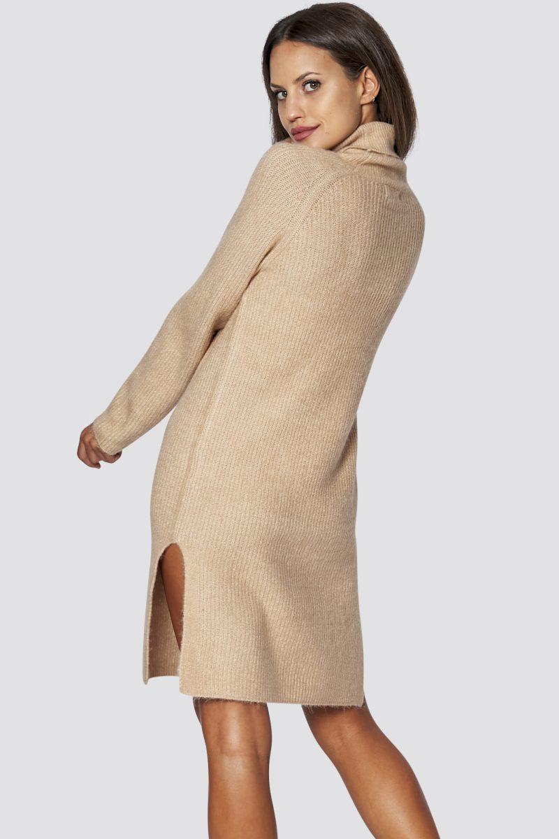 Langärmliges Strickkleid Mit Schlitzen In Beige  Pullover