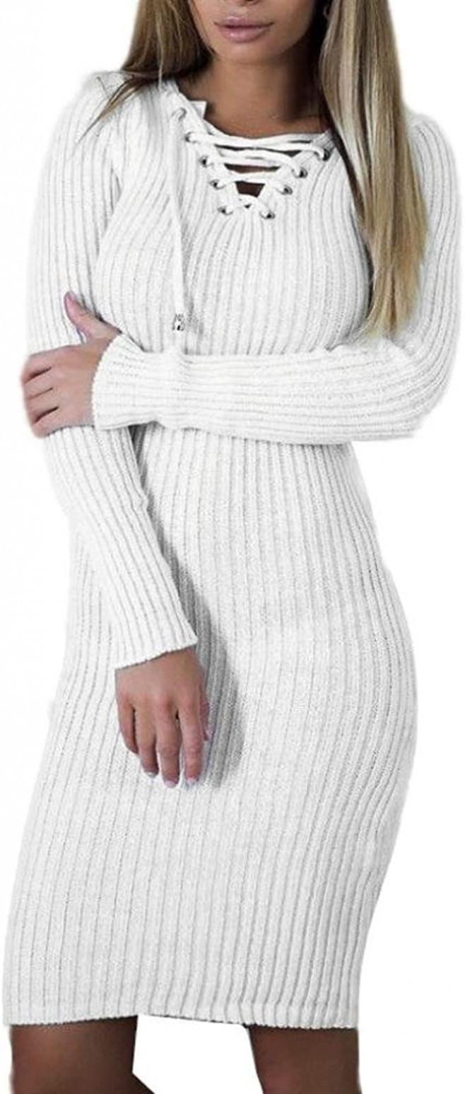 Longra Damen Strickkleider Weißes Kleid V Ausschnitt