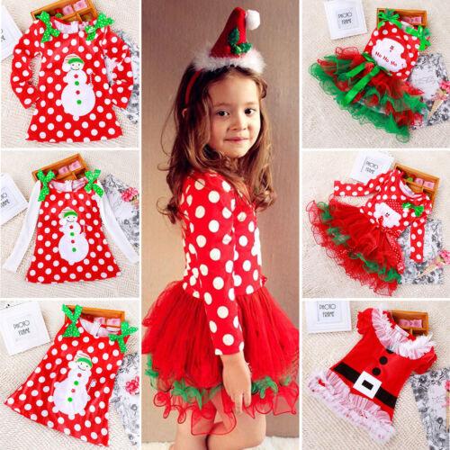 Mädchen Kinder Weihnachtskleid Tütü Tunika Kleid