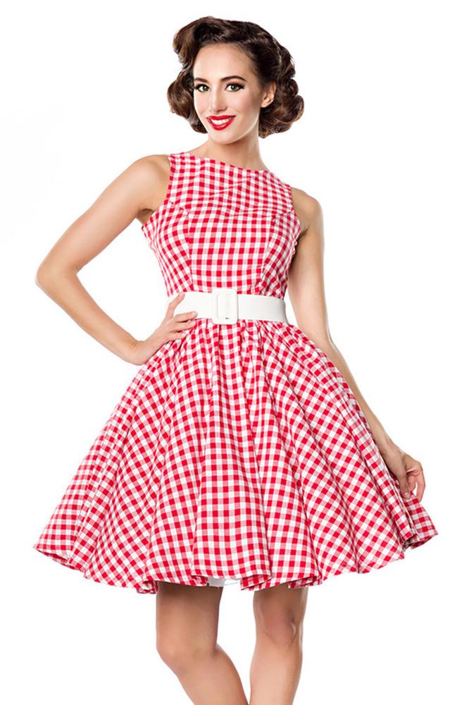 Maxine  Rotweißes Karokleid Mit Gürtel 3995
