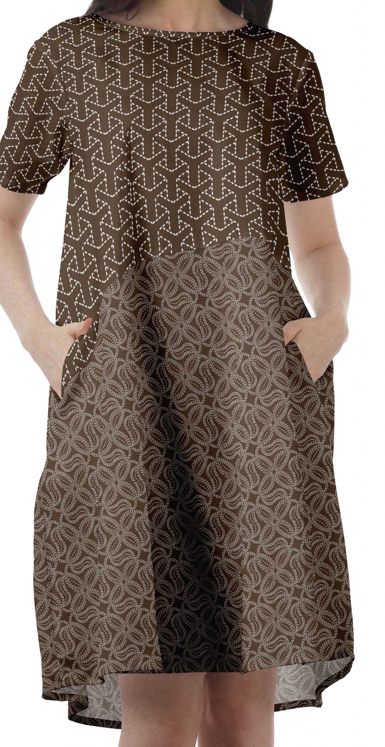Moomaya Baumwolle Flex Tunika Kleid Frauen Kurzarm