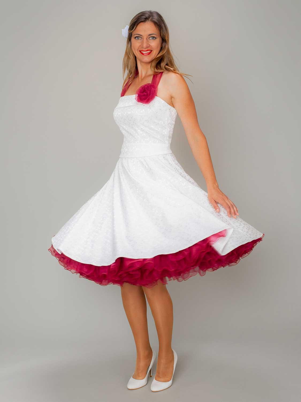 Rockabilly Petticoat Kleid Hochzeit Weiss Rotdunkel