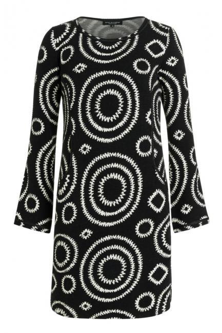 Schwarzweißes Taschenkleid Perlita Aus Strukturiertem