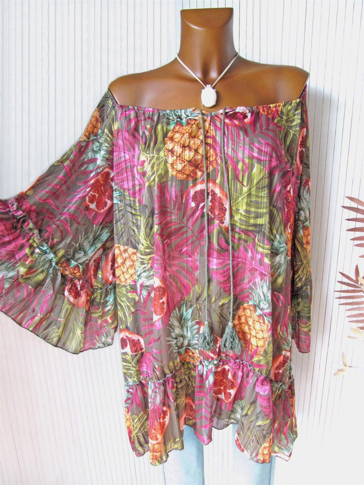 Traum Farbenfrohes Ibiza Tunika Kleid Hängerchen Glitzer