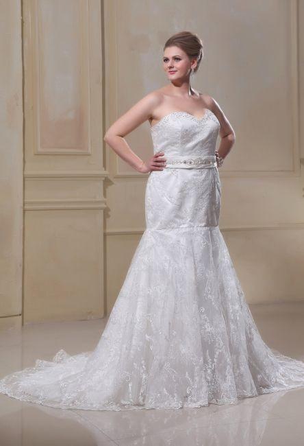 Weiß Brautkleider Große Größe Spitze Meerjungfrau