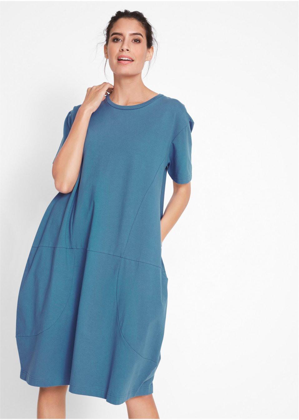 Weites Kleid Mit 1/2Arm Rundhalsausschnitt