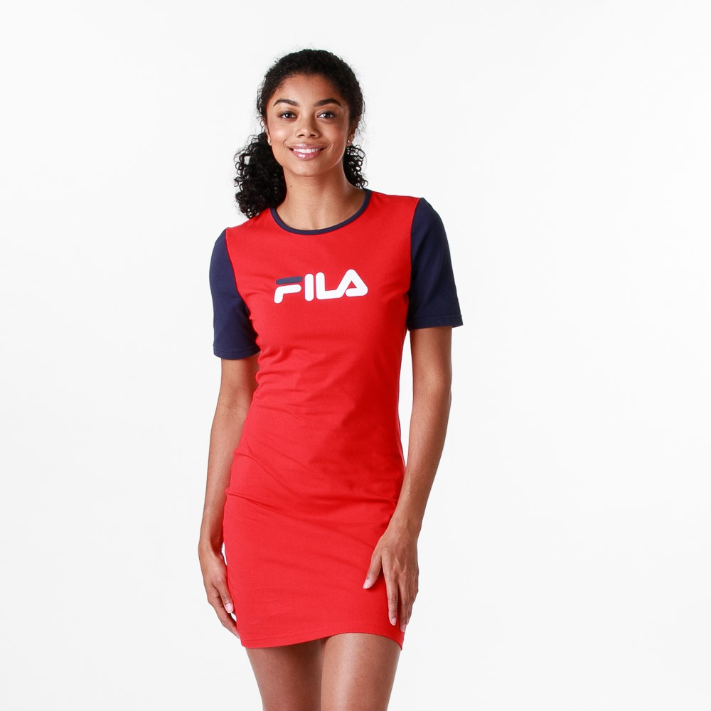 Womens Fila Roslyn Fitted Dress  Red / Navy / White