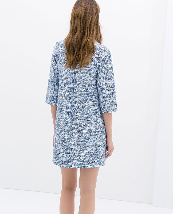 Zara  Woman  Printed Denim Dress With Ruffles  Printed