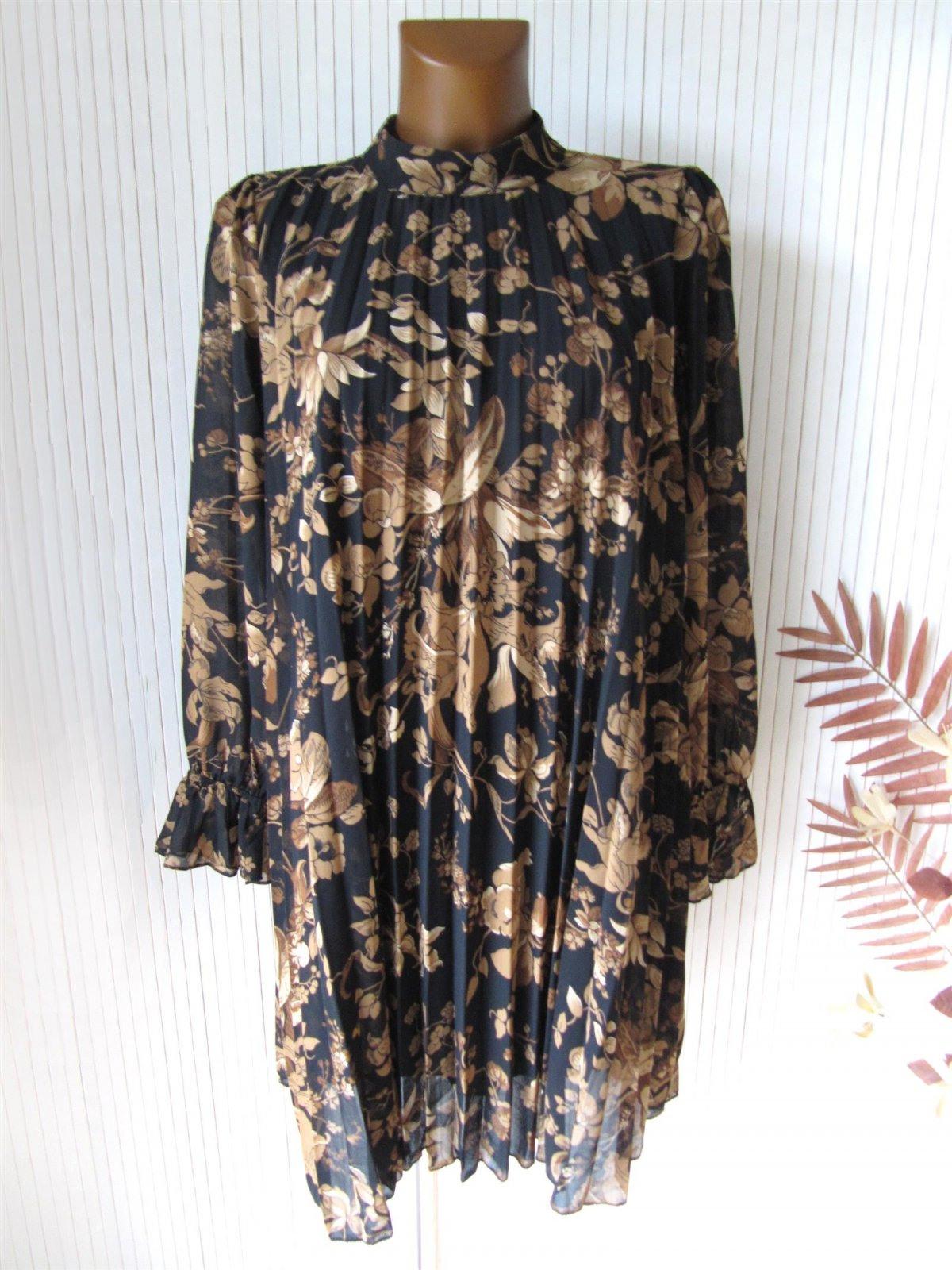 Zauberhaftes Plissee Kleid Hängerchen Tunika Floral 36 38