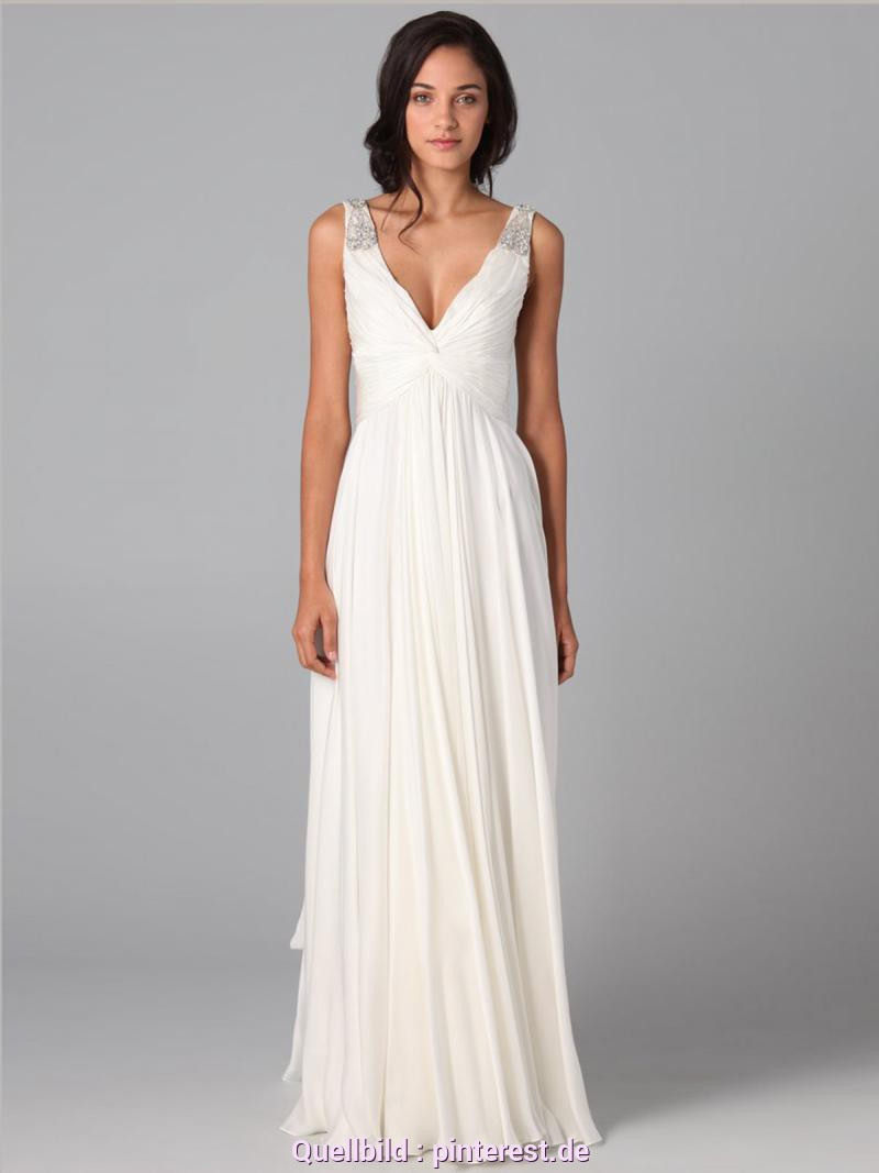 Zierlich Weißes Kleid Lang Günstig Alinie Vausschnitt
