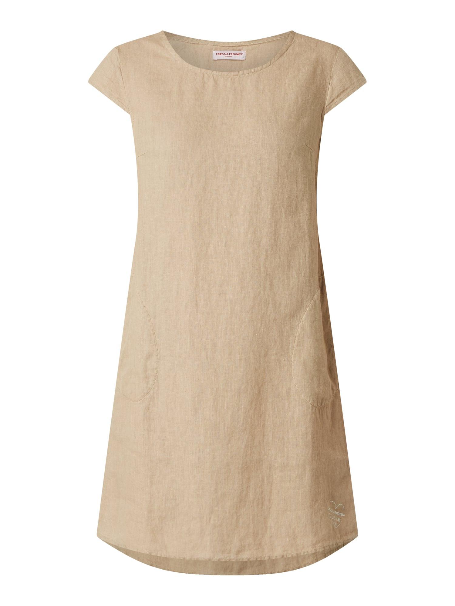 Frieda  Freddies Leinenkleid Mit Kurzen Ärmeln In Weiß
